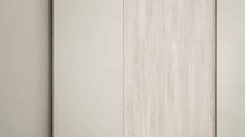 armoire beige portes coulissantes bi matières