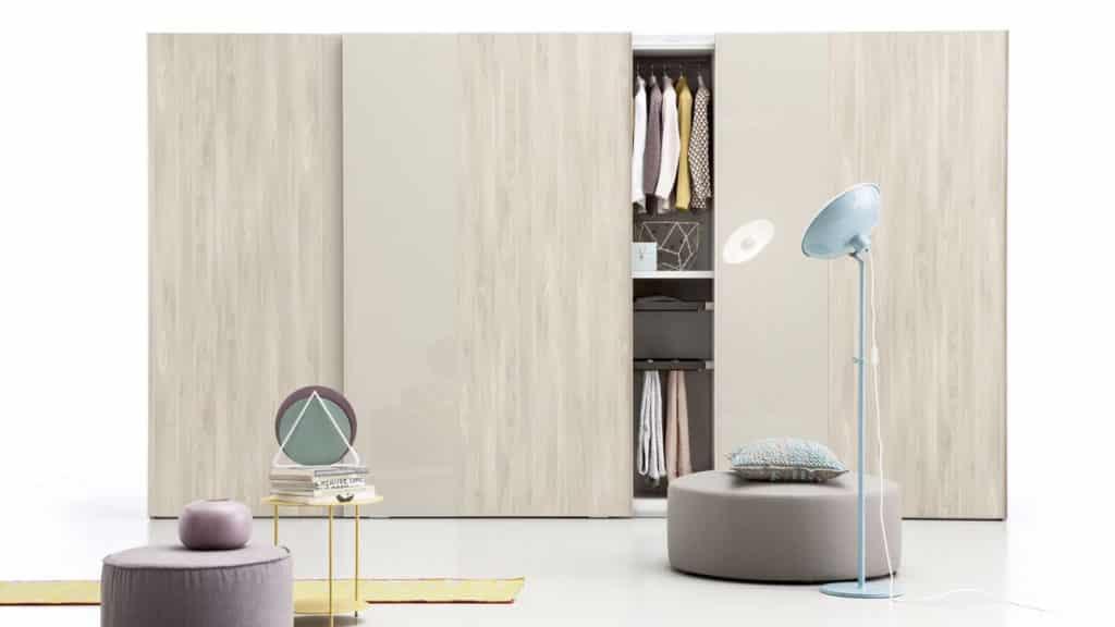 armoire portes coulissantes bi matières bois
