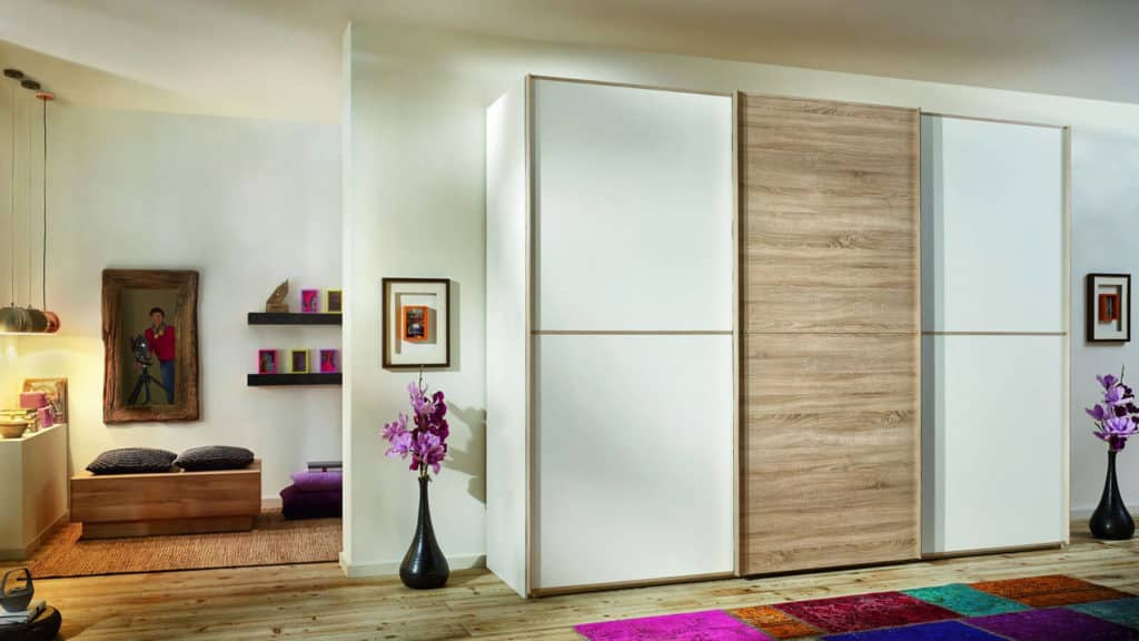 armoire mate portes coulissantes bois blanc