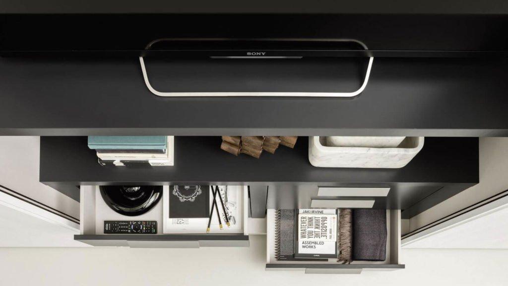 armoire sur-mesure tiroirs noirs