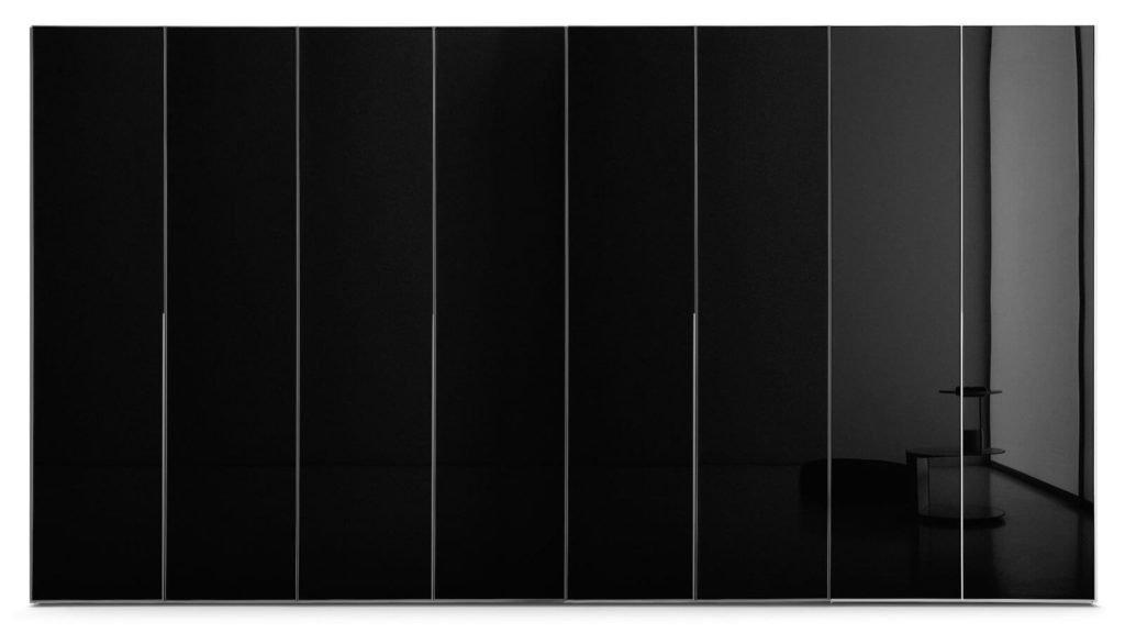 armoire verre laqué noir portes battantes
