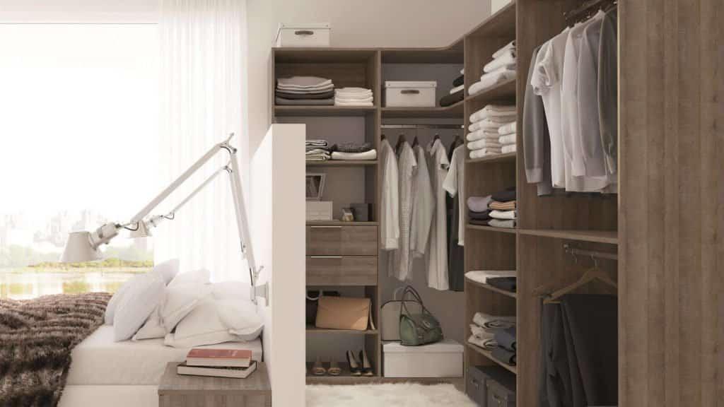 dressing bois ouvert chambre