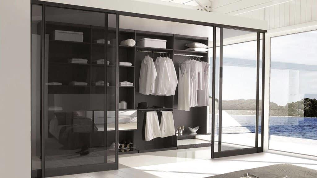 dressing miroir portes transparentes