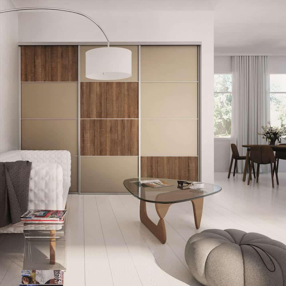 placard 3 portes coulissantes verre laqué bois beige
