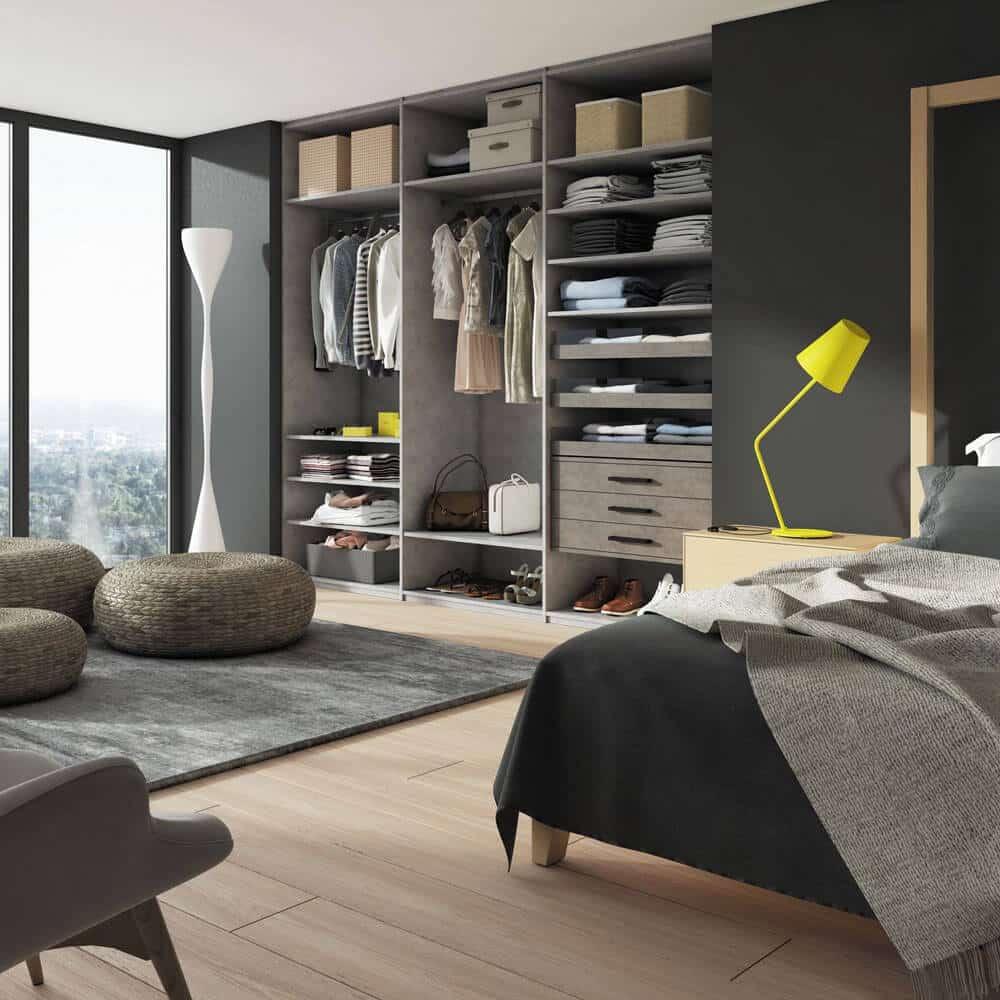 aménagement placard chambre gris