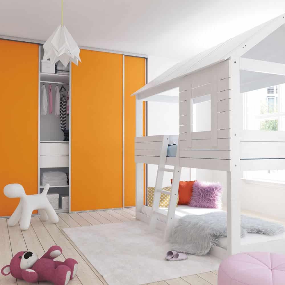 chambre enfant placard coulissant orange