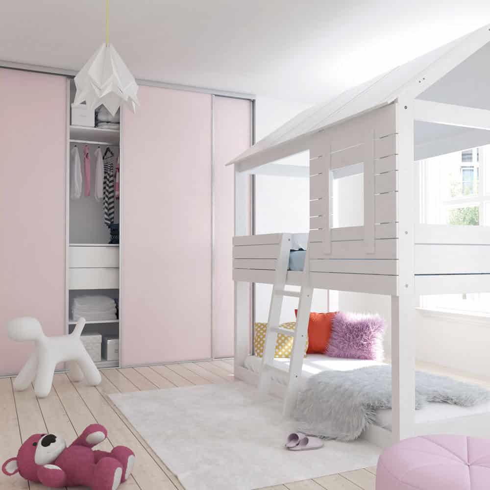 chambre enfant placard coulissant rose