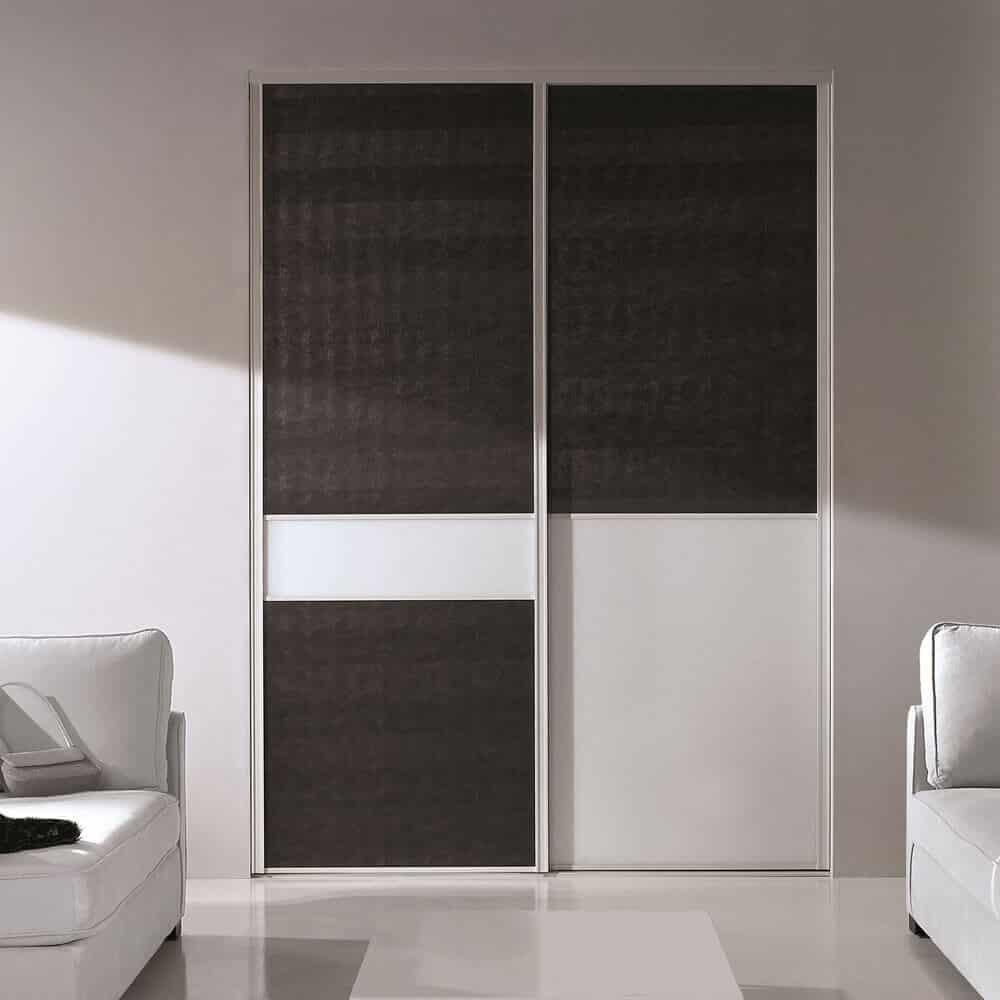 placard portes coulissantes noires blanches