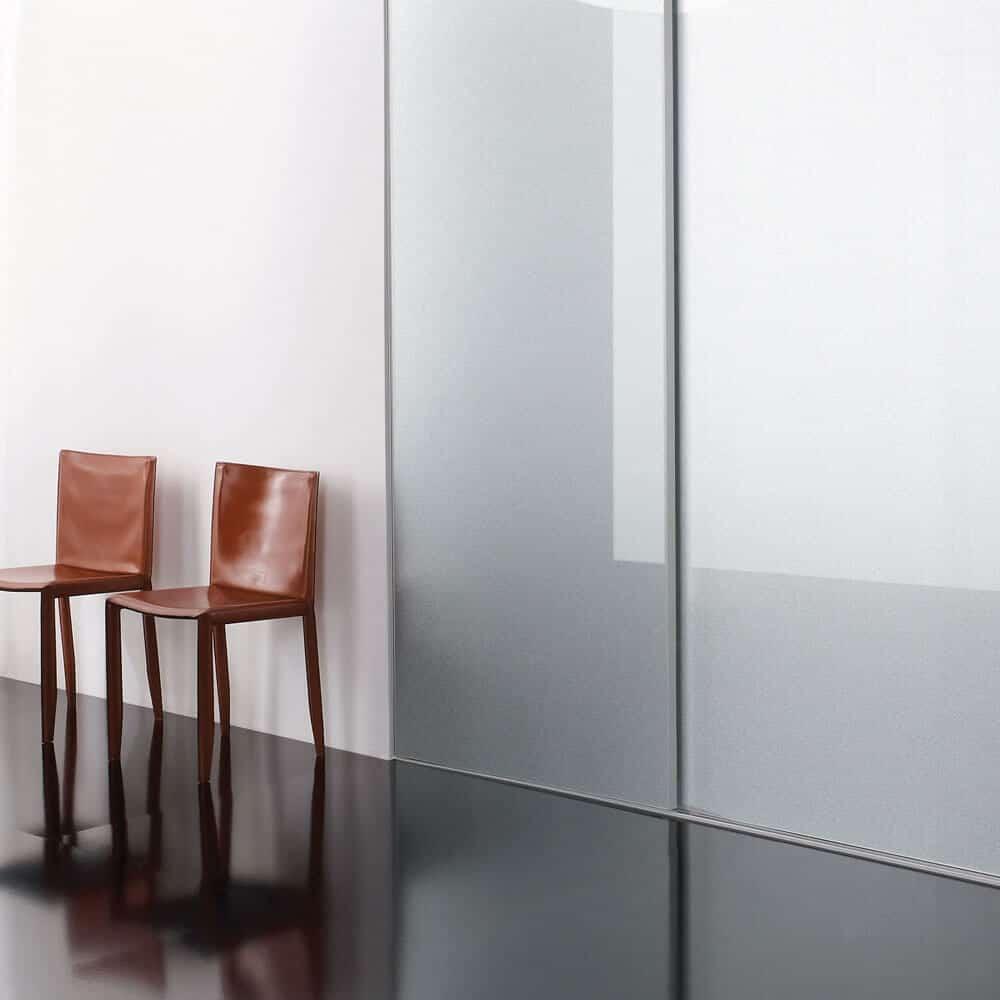 portes coulissantes placard verre laqué paillettes blanches