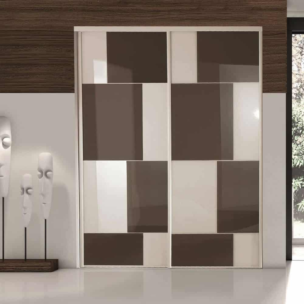 placard portes coulissantes taupe blanc