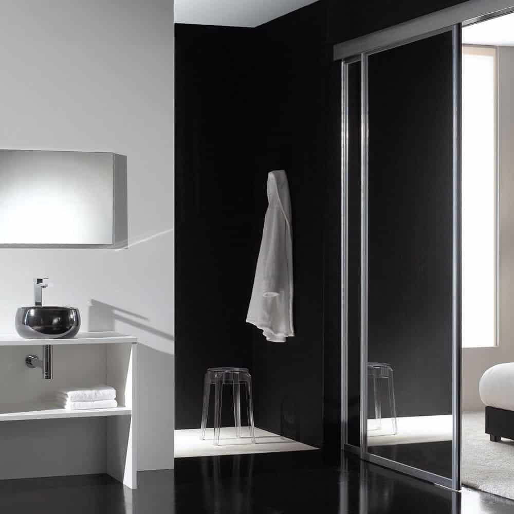 placard salle de bain porte miroir coulissante