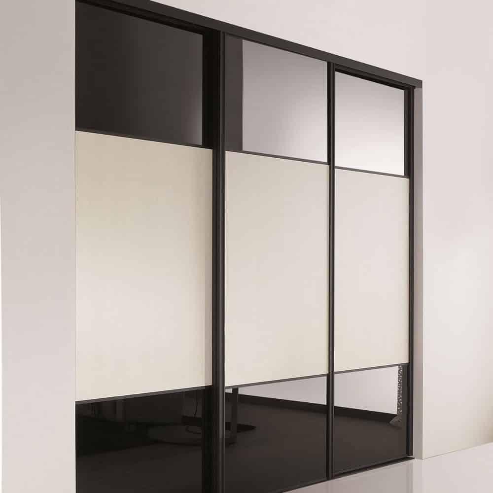 placard porte coulissante verre laqué trio noir et blanc