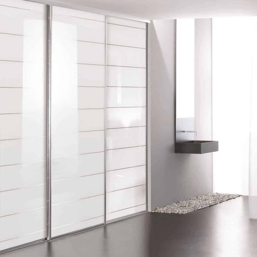porte coulissante placard verre laqué incisé salle de bain blanc