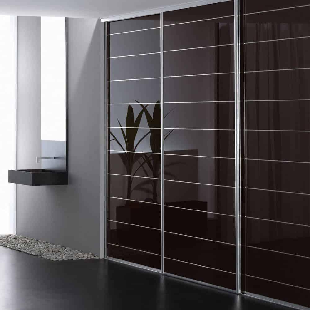 porte placard coulissante verre laqué incisé salle de bain