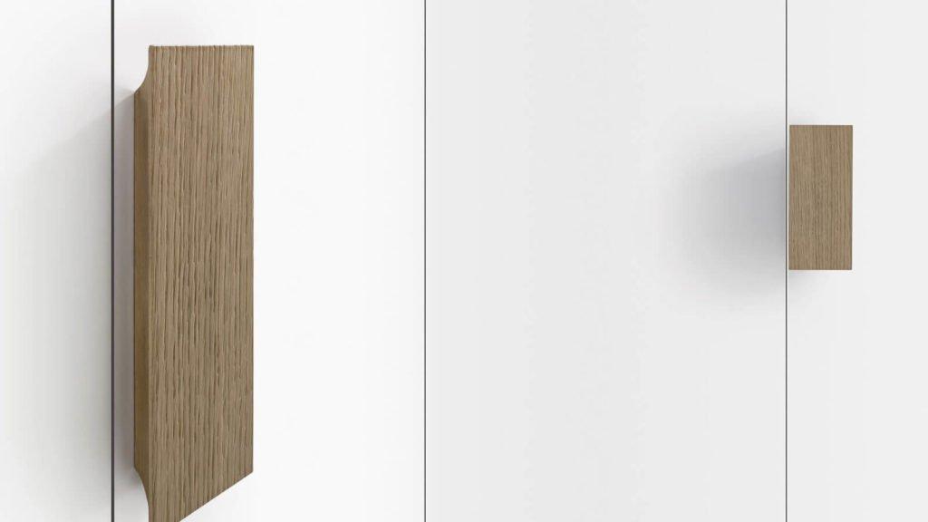 poignée armoire laquée blanche porte battante