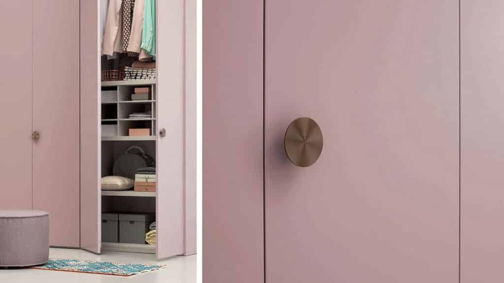 poignées armoire porte battante laquée rose