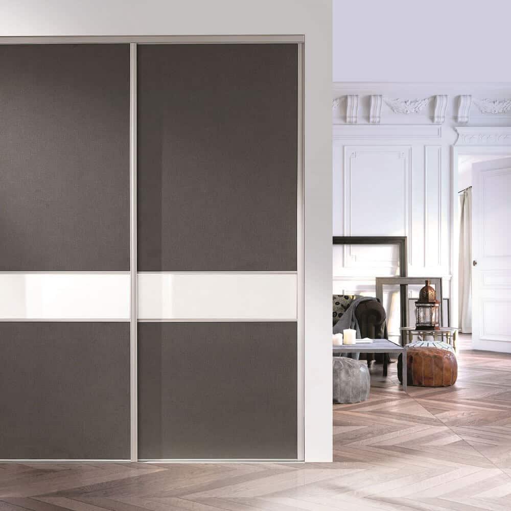 portes coulissantes bandeau grise blanche