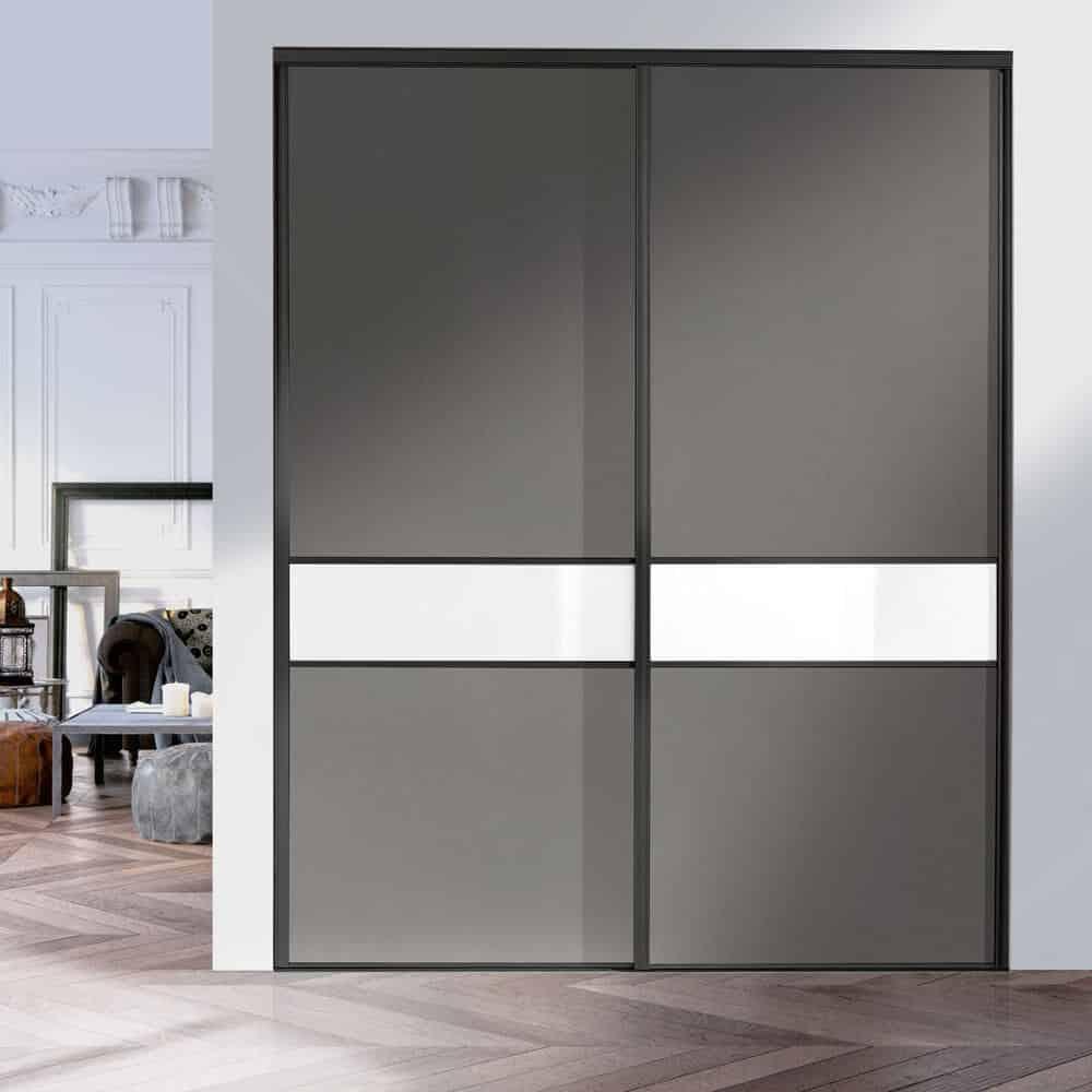 placard portes coulissantes noir gris blanc