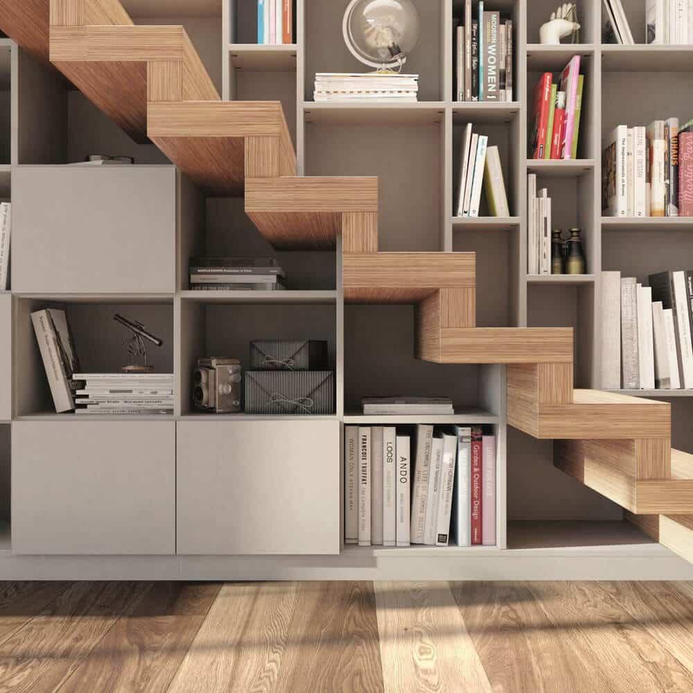bibliotheque sous escalier bois