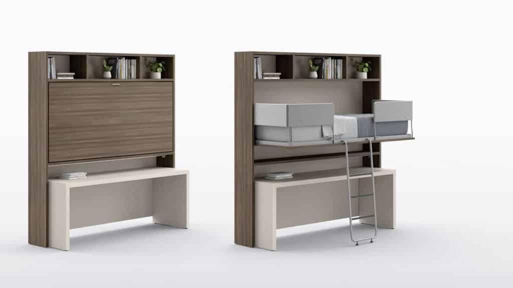 lit surélevé une place avec bureau