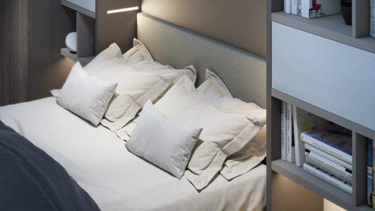 tète de lit lit escamotable
