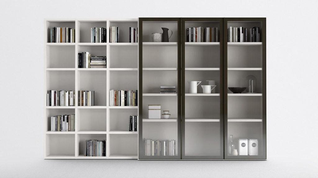 bibliothèque blanche vitrée