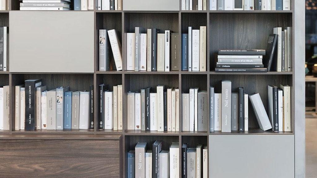bibliothèque bois gris