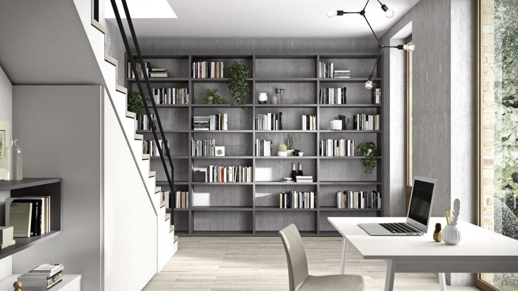 bibliothèque grise salon