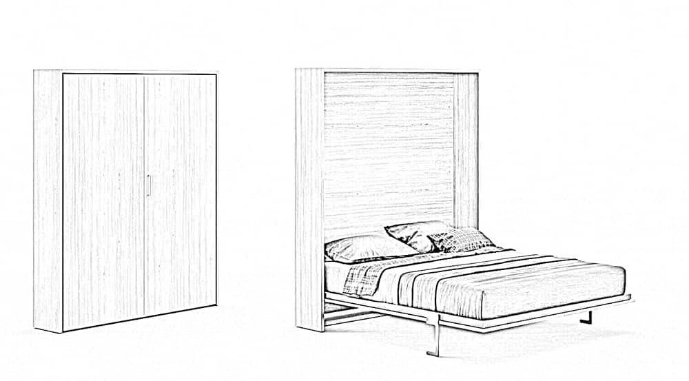 esquisse lit armoire escamotable
