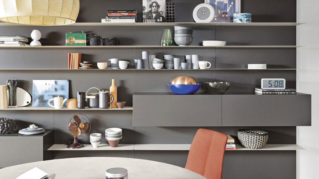meuble salon bibliothèque gris