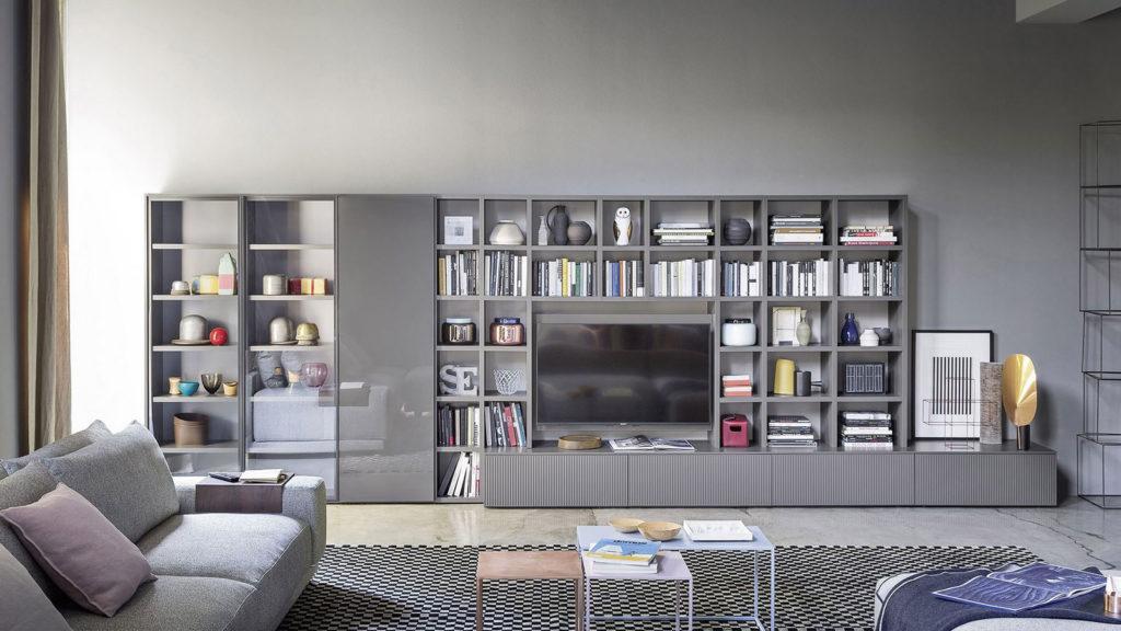 meuble tv bibliothèque gris