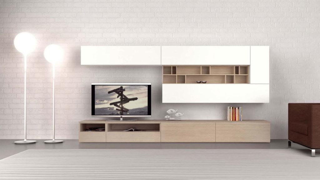 meuble tv blanc bois