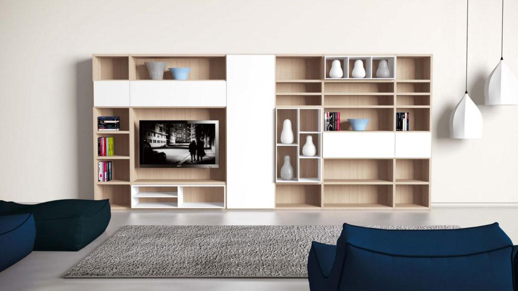 meuble tv bibliothèque blanc et bois