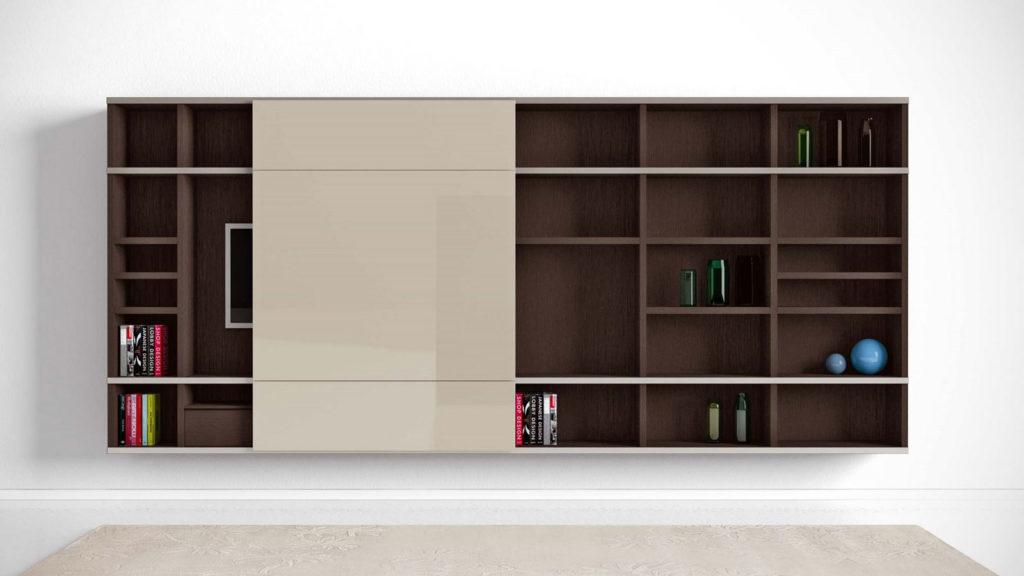 meuble tv bibliothèque cache télé