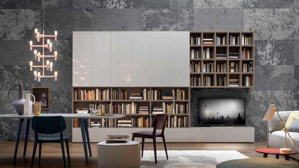 meuble tv bibliothèque laqué