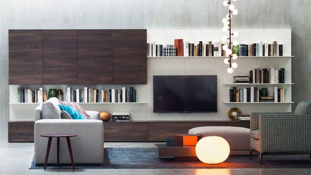 meuble tv bois bibliothèque