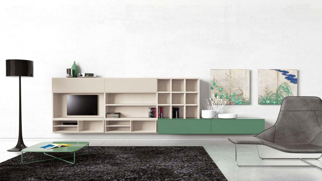 meuble tv design vert et bois