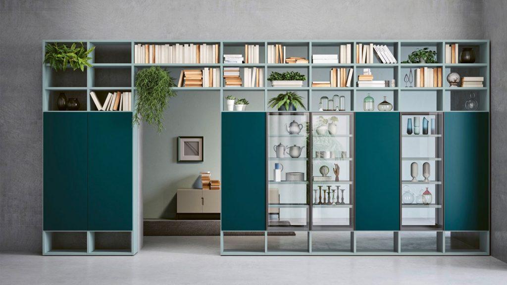 bibliothèque design bleue