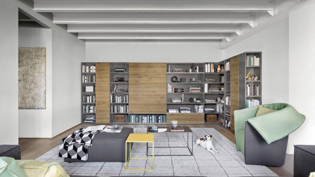 bibliothèque design gris bois