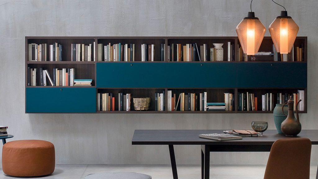 bibliothèque design bois foncé