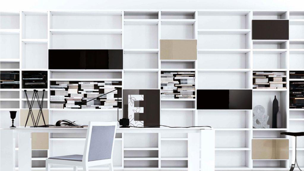 bibliothèque design annecy laquée blanche
