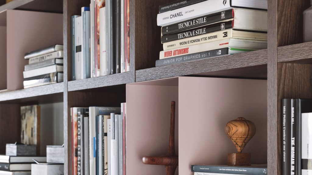 bibliothèque design annecy modulaire rose