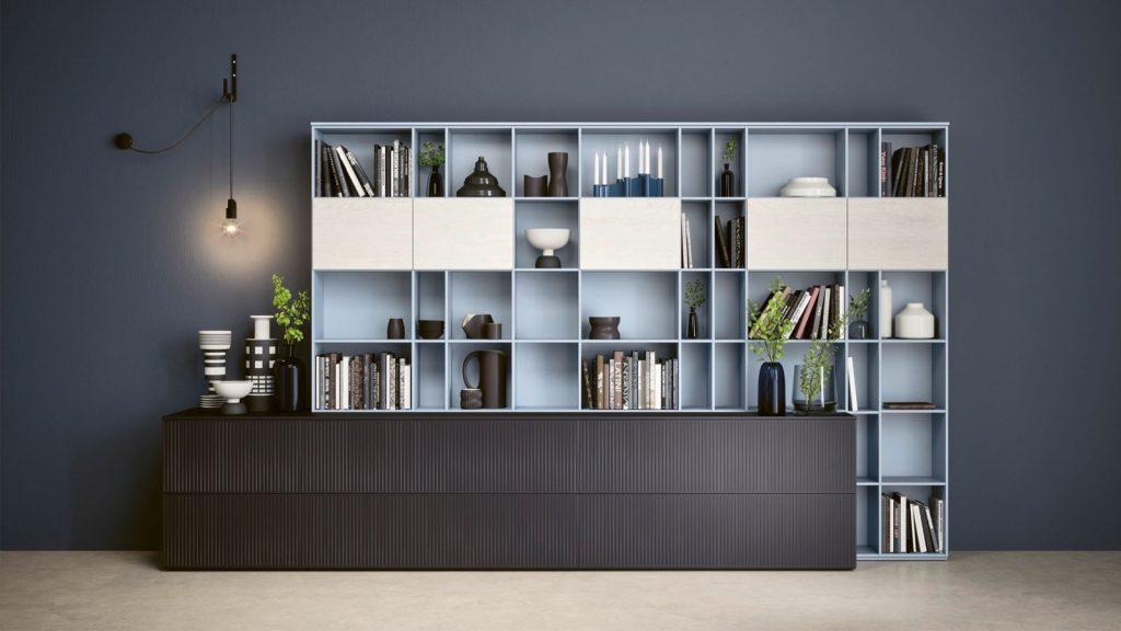 bibliothèque design chambéry bleue
