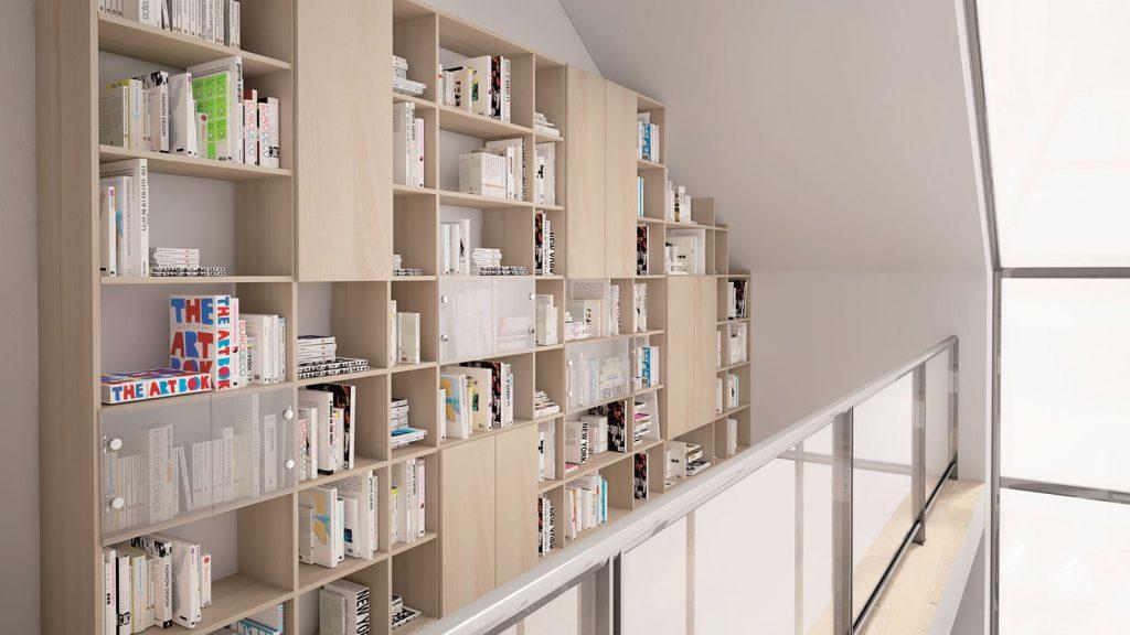 bibliothèque design sous pente sur mesure