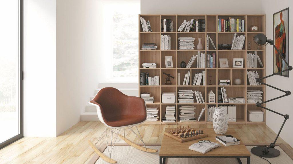 bibliothèque design sur mesure bois