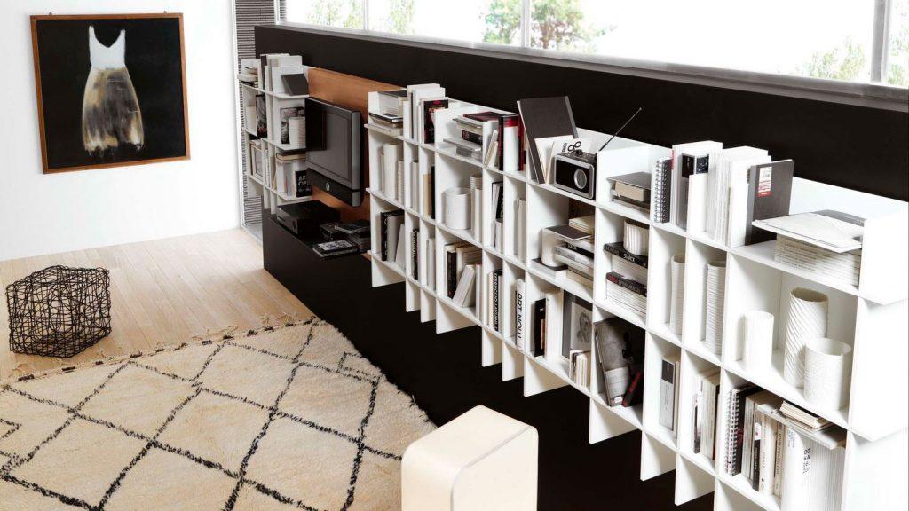 bibliothèque design suspendue aix les bains slim blanche