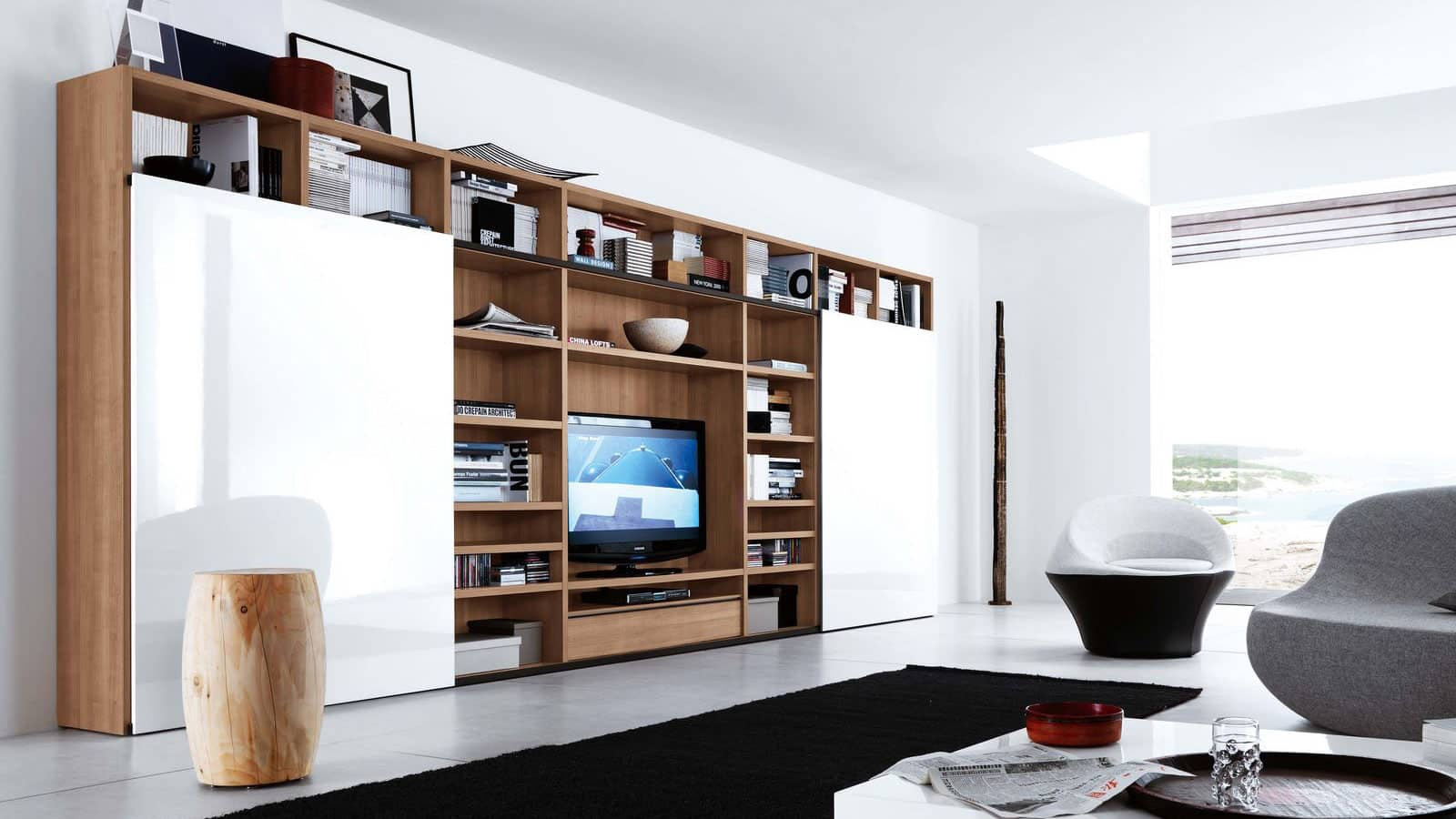 Meuble Tv Bibliothèque Blanc meuble tv bibliothèque | salon | optimal annecy