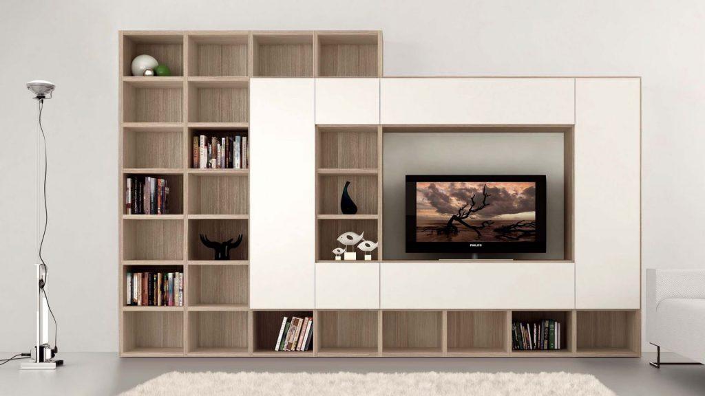 meuble tv bibliothèque bois blanc