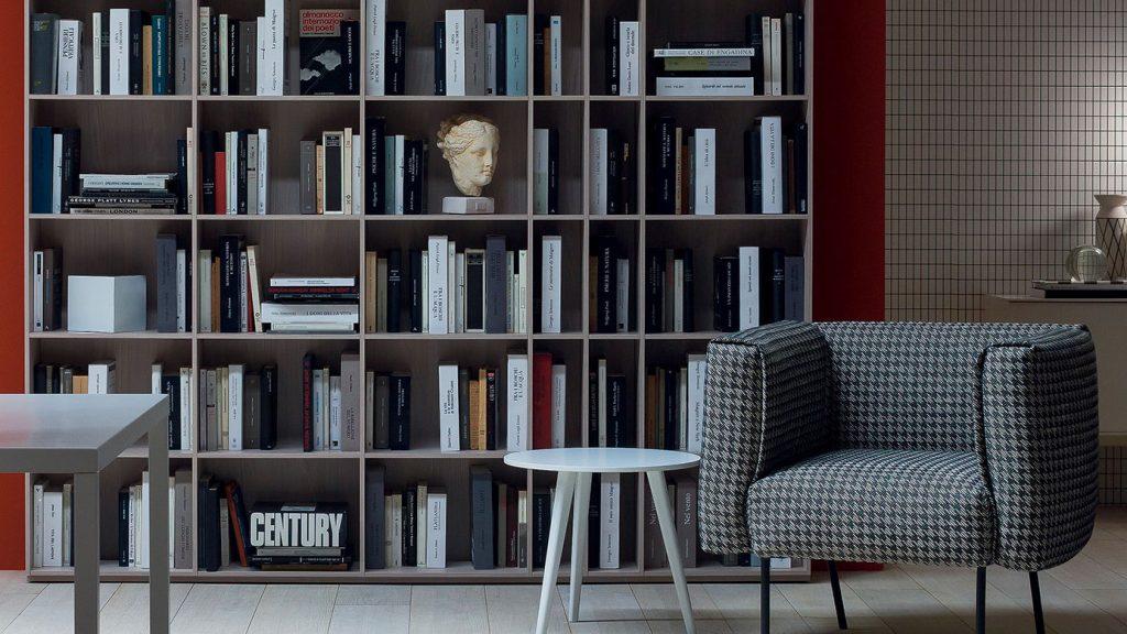 bibliothèque design chambéry grise