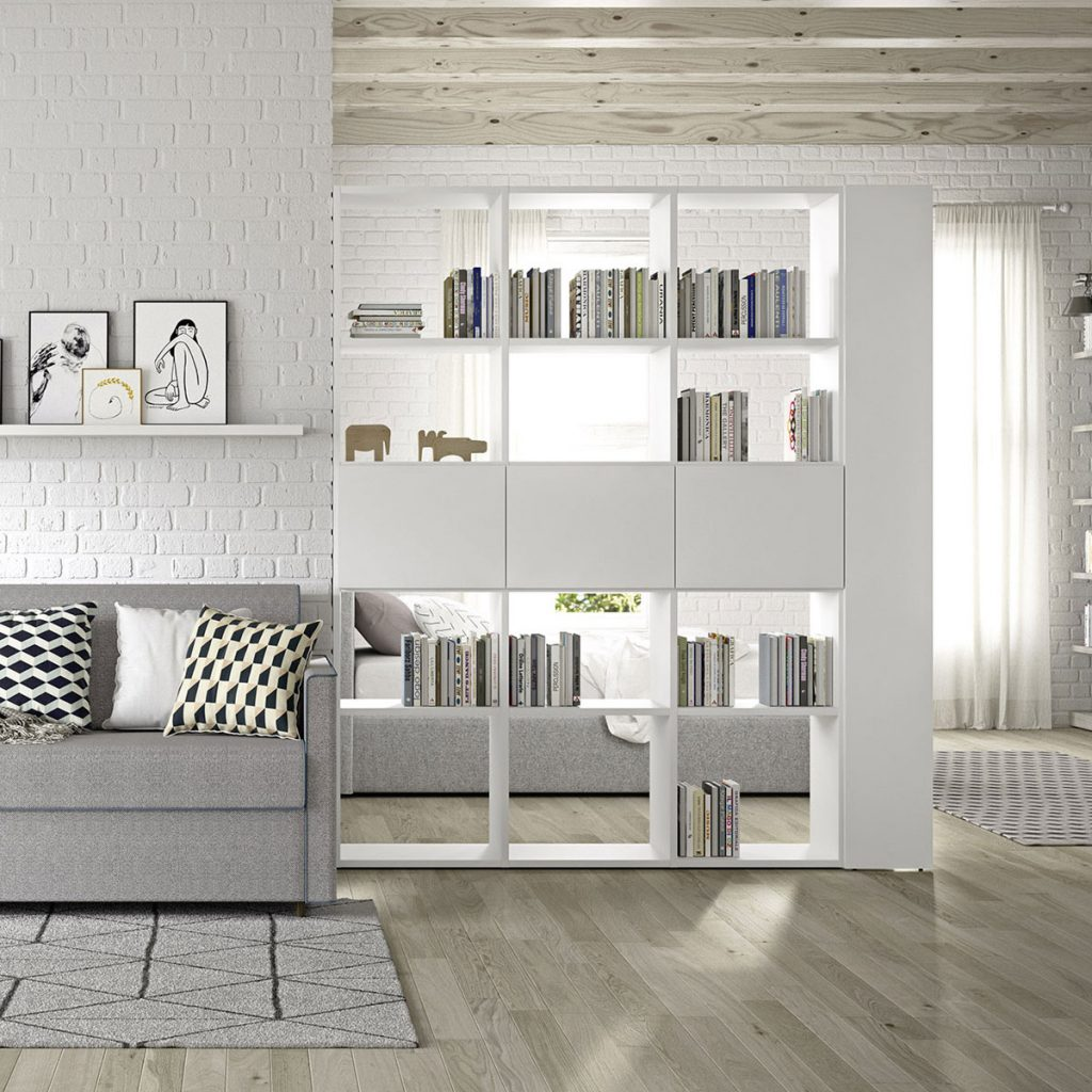 séparation de pièces bibliothèque blanche